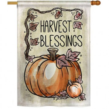 Harvest Blessings Fall and Thanksgiving House Flag