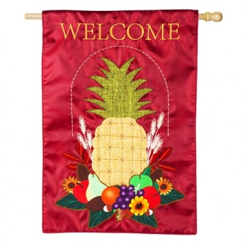 Harvest Pineapple Burlap House Flag