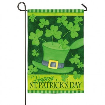 Hat and Shamrocks  Garden Flag