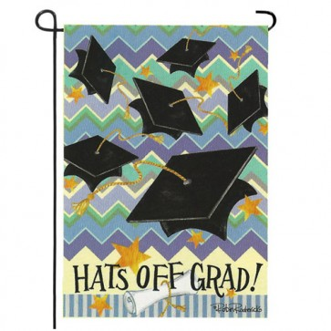 Hats Off Grad Garden Flag