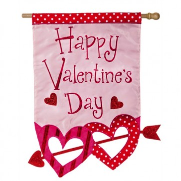 Hearts with Arrow Valentine's Day  House Flag