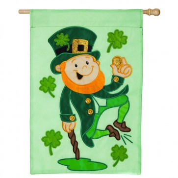 Heel Clicking Leprechaun St Patrick's Day House Flag