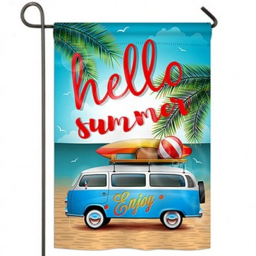 Hello Summer Enjoy Bus Garden Flag