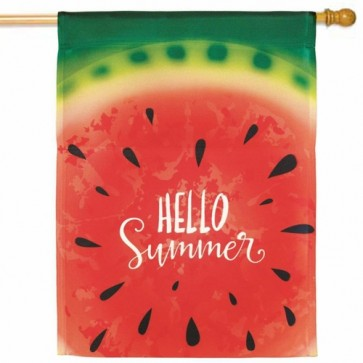 Hello Summer Watermelon House Flag