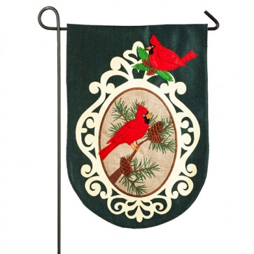 Holiday Birds Burlap Garden Flag