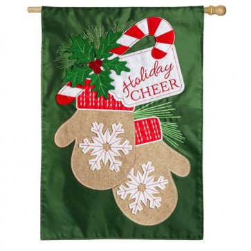 Holiday Cheer Mittens Christmas House Flag