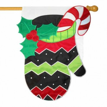 Holiday Mitten House Flag