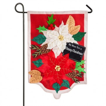 Holiday Poinsettias Burlap Garden Flag