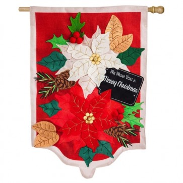 Holiday Poinsettias Burlap House Flag