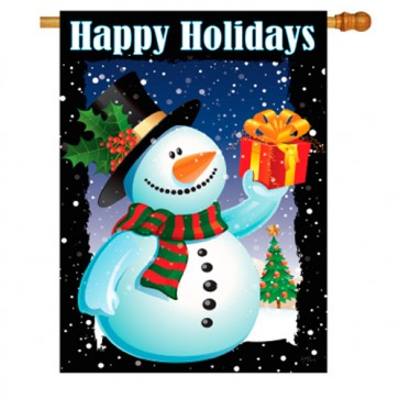 Holiday Snowman Christmas House Flag