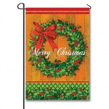 Holly Berry Wreath Garden Flag