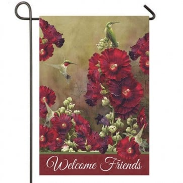 Hollyhocks and Hummingbirds Garden Flag
