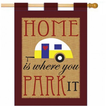 Home is where you Park it Summer Burlap House Flag