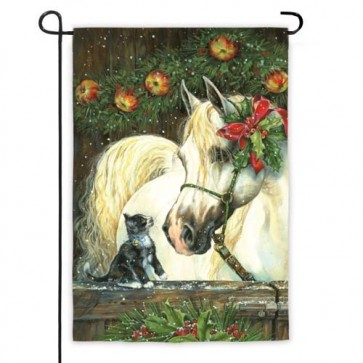 Horse with Holly Garden Flag