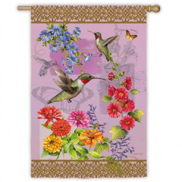 Hummingbird Botanical House Flag