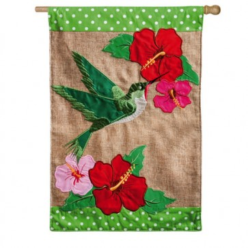 Burlap Hummingbird Flag House Flag