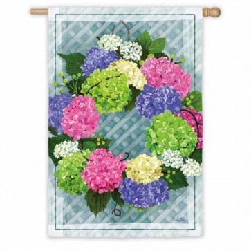 Hydrangea Wreath House Flag