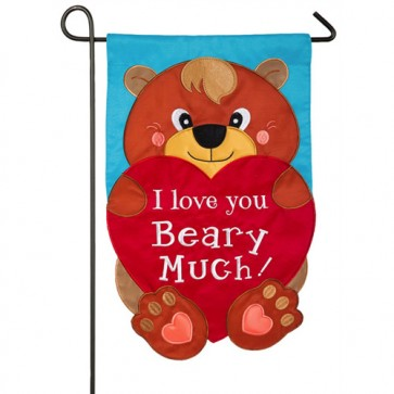 I Love You Beary Much Valentines Day Garden Flag