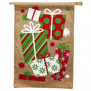 It's Christmas Morning (Burlap House Flag)