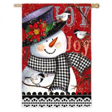 Joy Snowman  Winter House Flag