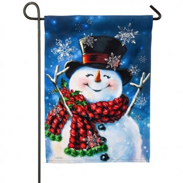 Joyful Jolly Snowman Winter Garden Flag