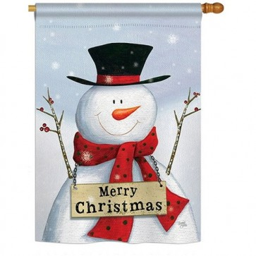 Joyful Snowman House Flag