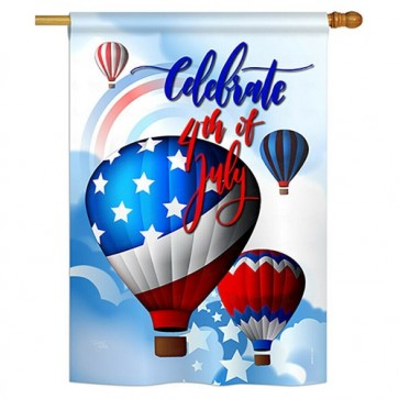 July 4th Hot Air Balloons House Flag