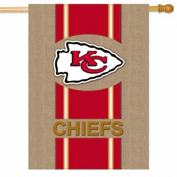 Kansas City Chiefs Burlap House Flag