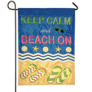 Keep Calm and beach On Garden flag