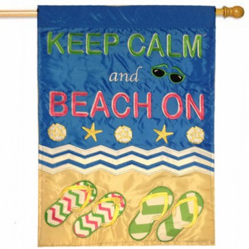 Keep Calm and Beach On House flag