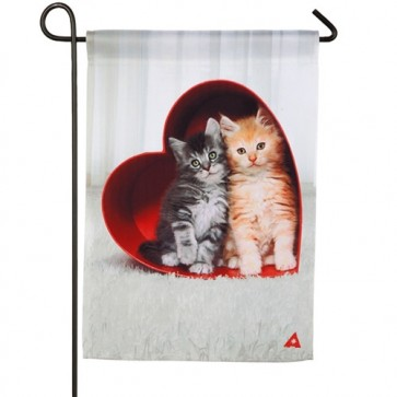 Kittens in Heart Box Garden Flag