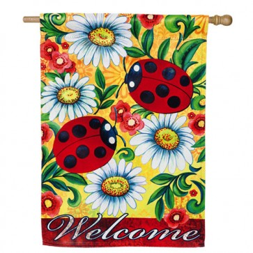 Ladybug Welcome House Flag