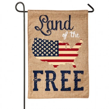 Land of the Free Burlap Garden flag