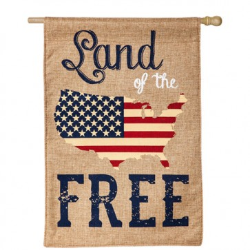 Land of the Free Burlap House flag