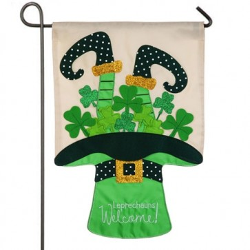 Leprechaun's Welcome Garden Flag