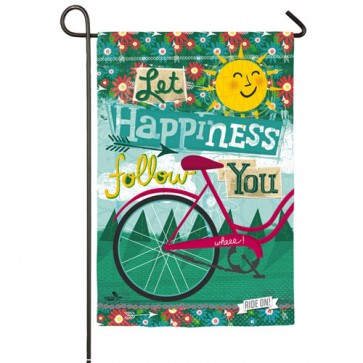 Let Happiness Follow You Garden Flag
