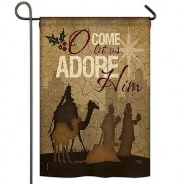 Let Us Adore Him Garden Flag