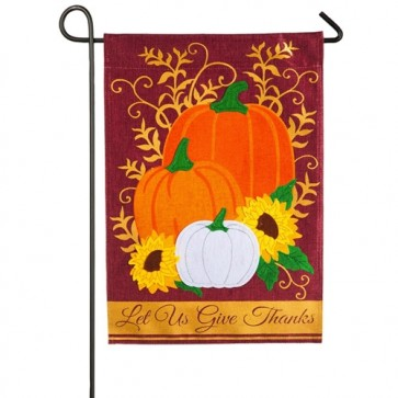 Let us Give Thanks Burlap Thanksgiving Garden Flag