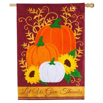Let us Give Thanks Burlap Thanksgiving House Flag