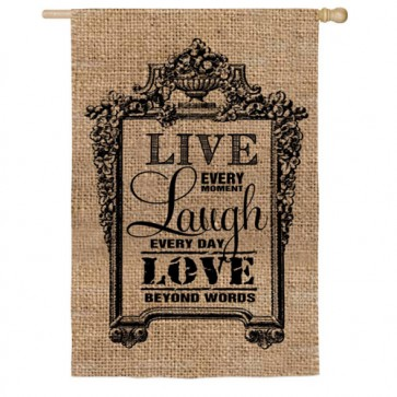 Live, Laugh, Love Burlap House Flag