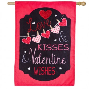 Love and Kisses Burlap House Flag