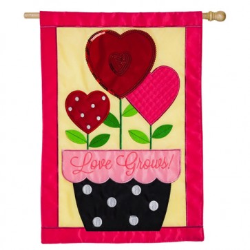 Love Grows Valentines Day House Flag
