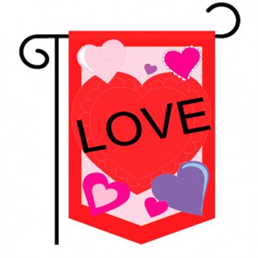Love Hearts Valentine's Day Garden Flag