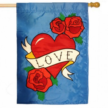 Love  Valentines Day House Flag