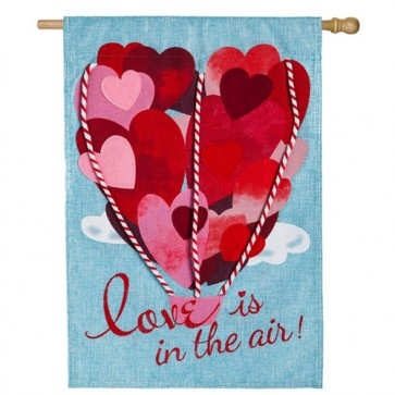 Love is in the Air Burlap Valentine's Day House Flag