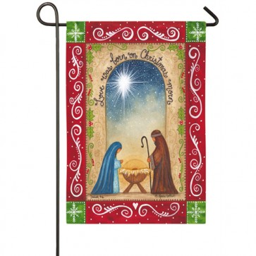 Love was Born Christmas Garden Flag