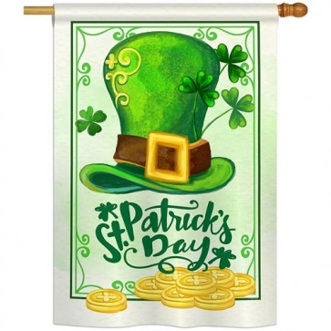 Lucky Hat St Patrick's Day House Flag