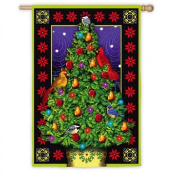 Luxe Christmas Tree House Flag