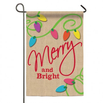 Merry and Bright Burlap Garden Flag