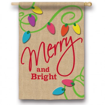 Merry and Bright Burlap House Flag